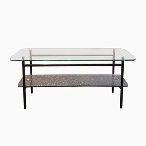 Black Lacquered Metal and Glass Coffee Table, 1950s