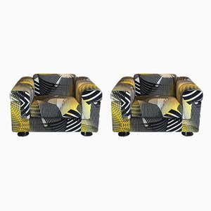 Black and Yellow Velvet P120 Armchairs from Tecno, 1966, Set of 2