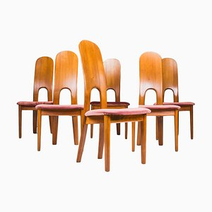 Sillas de comedor danesas de teca de Niels Koefoed para Koefoeds Hornslet, años 70. Juego de 6
