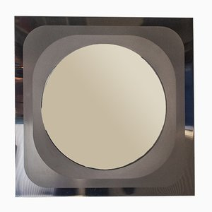 Vintage Italian Brushed Steel Mirror, 1970s