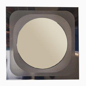 Vintage Italian Brushed Steel Mirror, 1970s