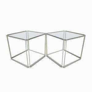 French Minimalist Wire & Glass Side Tables by Max Sauze for Atrow, 1960s, Set of 2