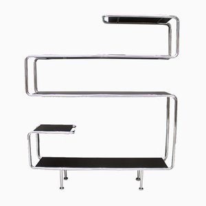 Vintage Chromed Steel Tube and Lacquered Wood Wall Shelf