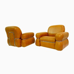 Cognac Leather Club Chairs, 1960s, Set of 2