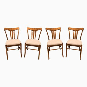 Oak Dining Chairs, 1950s, Set of 4