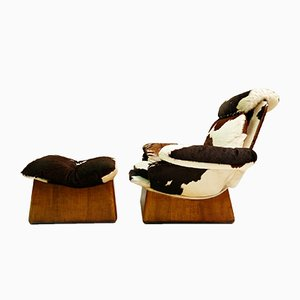 Vintage Cowhide Armchair and Ottoman, Set of 2