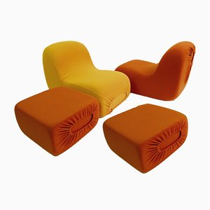 Vintage Canapouf Lounge Chairs and Stools by Pierre Cardin, Set of 4