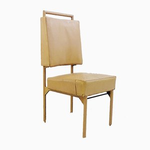 Vintage Lather and Iron Side Chair by Jacques Adnet