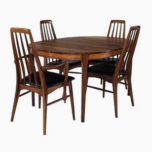 Juego de mesa de comedor y sillas Eva de palisandro de Niels Koefoed, años 60. Juego de 5
