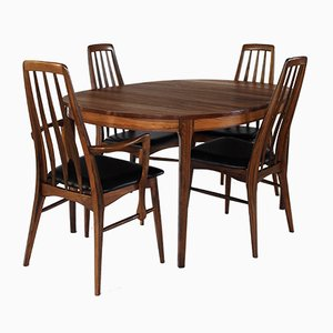 Rosewood Dining Table & Eva Chairs Set by Niels Koefoed, 1960s, Set of 5