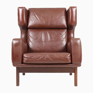 Danish Leather Wingback Chair from Erhardsen & Andersen, 1960s