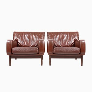 Mid-Century Danish Leather Lounge Chairs from eran, 1960s, Set of 2