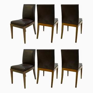 Vintage Brown Leather Dining Chairs by Christian Liaigre for Holly Hunt, Set of 6