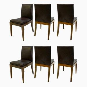 Vintage Esszimmerstühle mit Bezug aus braunem Leder von Christian Liaigre für Holly Hunt, 6er Set
