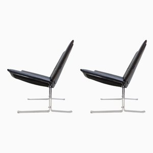 Black Leather and Chrome Club Chairs, 1970s, Set of 2