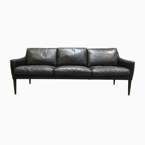 Rosewood and Black Leather Sofa by Hans Olsen for CS Mobelfabrik, 1950s