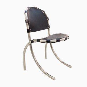 Silla auxiliar italiana vintage de cromo y cuero negro de Tetrarch Bazzani International Studio