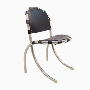 Vintage Italian Chrome and Black Leather Side Chair by Tetrarch Bazzani International Studio