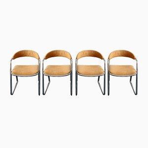 Italienische Esszimmerstühle mit verchromtem Gestell, 1972, 4er Set