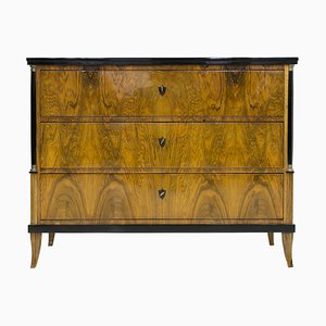 Commode Biedermeier Antique en Placage de Noyer