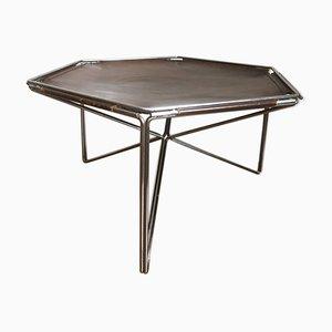 Tavolino esagonale in pelle e metallo di Max Sauze per Isocèle, anni '70