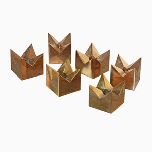 Swedish Brass Candle Holders by Pierre Forsell for Skultuna, 1960s, Set of 6
