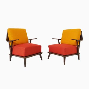 Vintage Klubsessel in Korallenrot & Orange, 2er Set