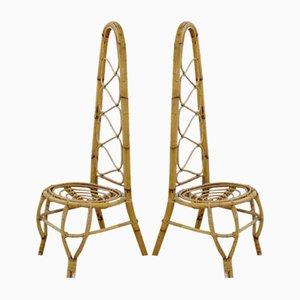 Vintage Klubsessel aus Rattan & Bambus mit hoher Rückenlehne, 2er Set