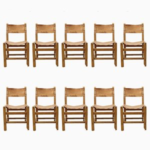 Vintage Elm and Cognac Leather Dining Chairs by Maison Regain, Set of 10