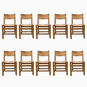 Vintage Esszimmerstühle aus Ulmenholz & cognacfarbenem Leder von Maison Regain, 10er Set