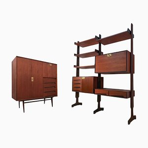 Italian Teak Shelving Unit and Cabinet by Vittorio Dassi for Dass Mobili Moderni, 1950s, Set of 2