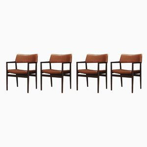 Oak and Leather Dining Chairs by Erik Wørts for Sorø Stolefabrik, Set of 4