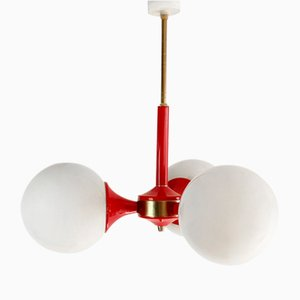 Red Metal Ceiling Lamp, 1960s