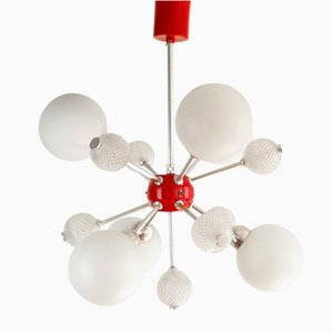 Red Sputnik Opaline Glass Ceiling Lamp, 1960s