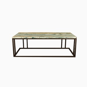 Table Brass Finish and Marble Elio Coffee by Casa Botelho