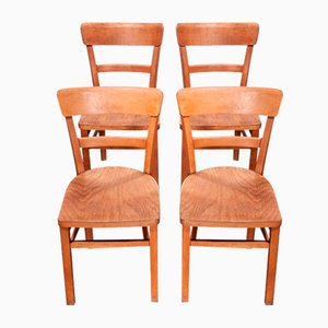 Bentwood Bistro Chairs, 1950s, Set of 4