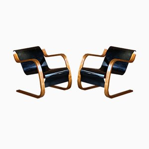 Finnish Model 31 Birch and Plywood Armchairs by Alvar Aalto for Finmar, 1930s, Set of 2