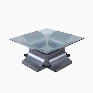 Mesa de centro de acero y vidrio de Francois Monnet para Kappa, años 70