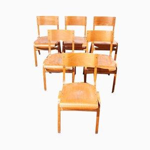 Stapelbare Esszimmerstühle von Lamstak, 1950er, 6er Set