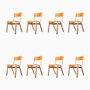 Stackable Dining Chairs from Lamstak, 1950s, Set of 8