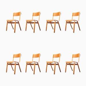 Stapelbare Esszimmerstühle von Lamstak, 1950er, 8er Set