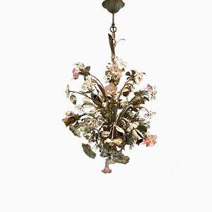 Lustre Floral en Tôle et Verre de Murano de Sergio Mecchini, 1960s