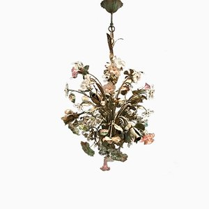 Tole Flower Murano Glass Chandelier from Sergio Mecchini, 1960s