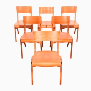 Beech Stackable Dining Chairs by James Leonard for ESA, 1950s, Set of 6
