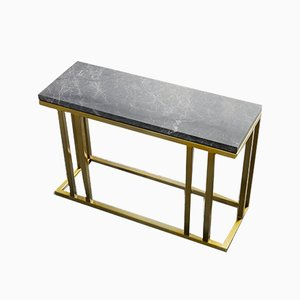Brass and Marble Elio Slim Side Table by Casa Botelho