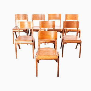 Beech Stackable Dining Chairs by James Leonard for ESA, 1950s, Set of 8