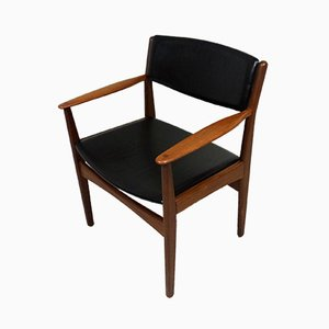 Danish Teak and Leather Armchair from Frem Røjle, 1960s