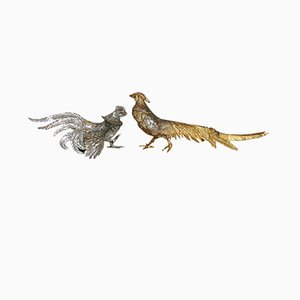 Garden Rooster and Pheasant Sculptures, 1970s, Set of 2