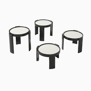 Italian Black Lacquered Stacking Tables by Gianfranco Frattini for Cassina, 1960s, Set of 4