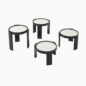 Tables Empilables Laquées Noires par Gianfranco Frattini pour Cassina, Italie, 1960s, Set de 4